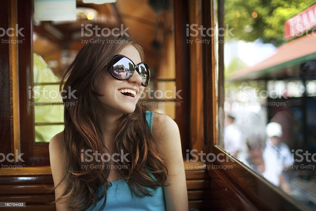 Young woman in streetcar royalty-free stock photo