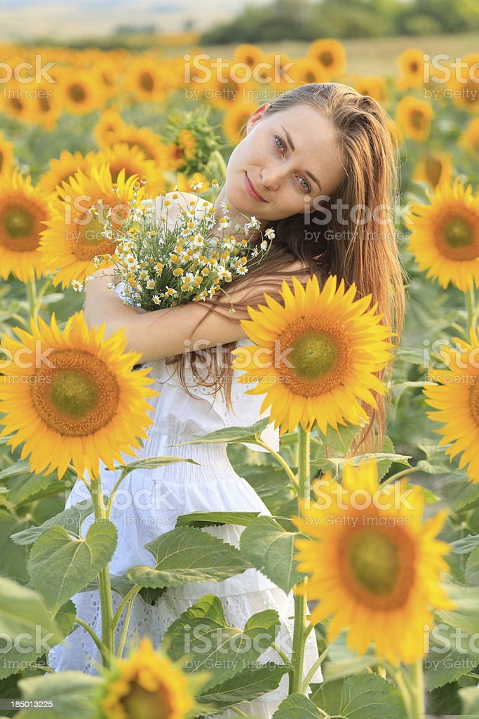 Young Woman in Sunflower Field royalty-free stock photo