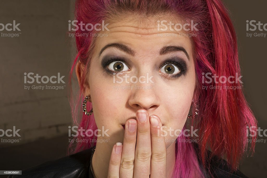 Young Woman in Suspense stock photo