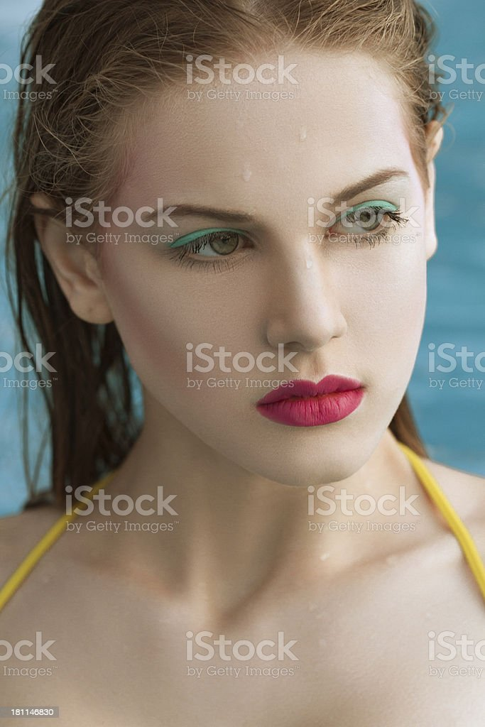 young woman in swimming pool royalty-free stock photo