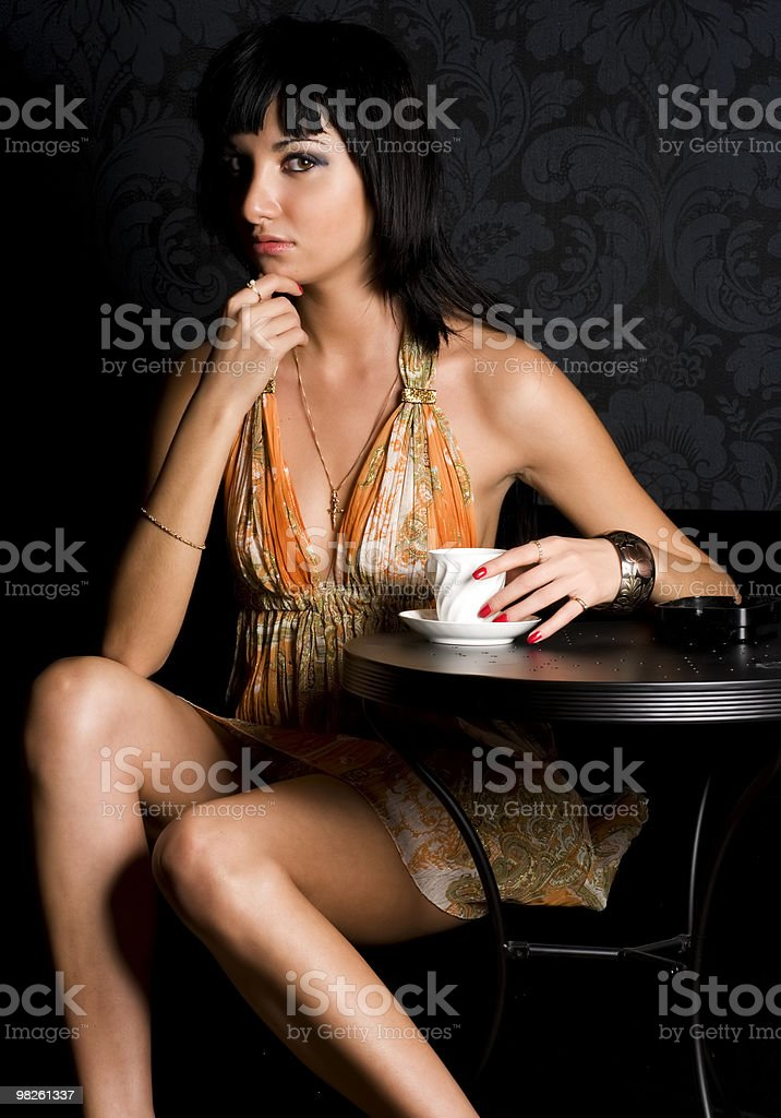 Young woman in the cafe stock photo