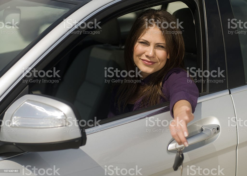 young woman in the car royalty-free stock photo