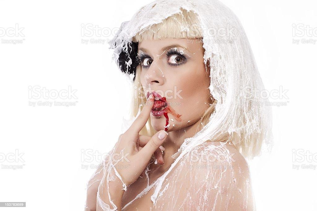 Jeune femme dans le cobweb photo libre de droits