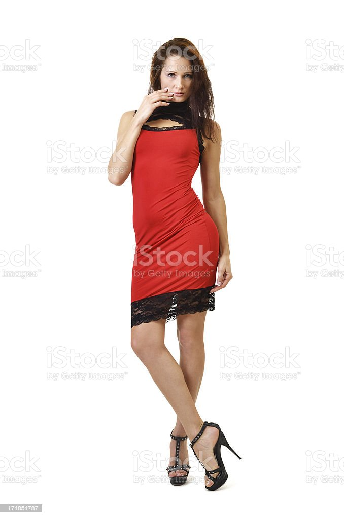 Young woman in the red dress stock photo