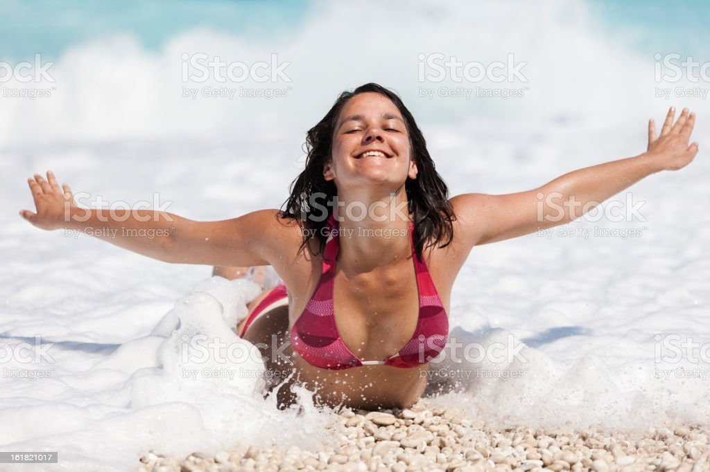Young woman in the sea royalty-free stock photo