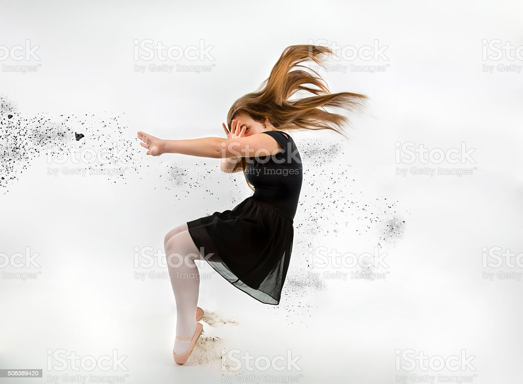 Young woman in the storm stock photo