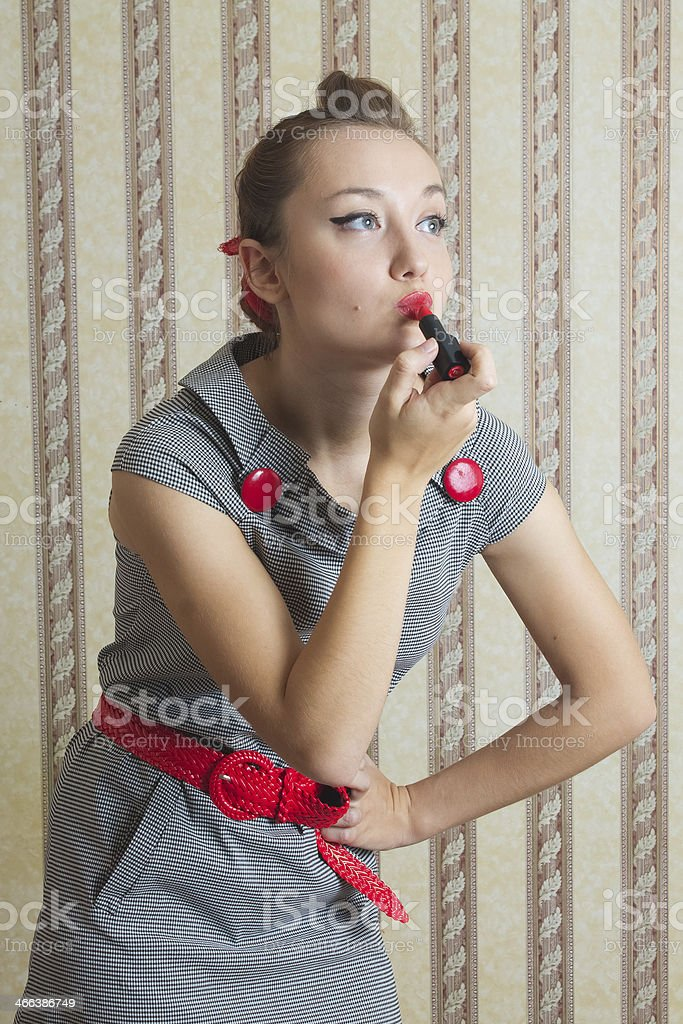 young woman in the style of 50's colors lipstick stock photo