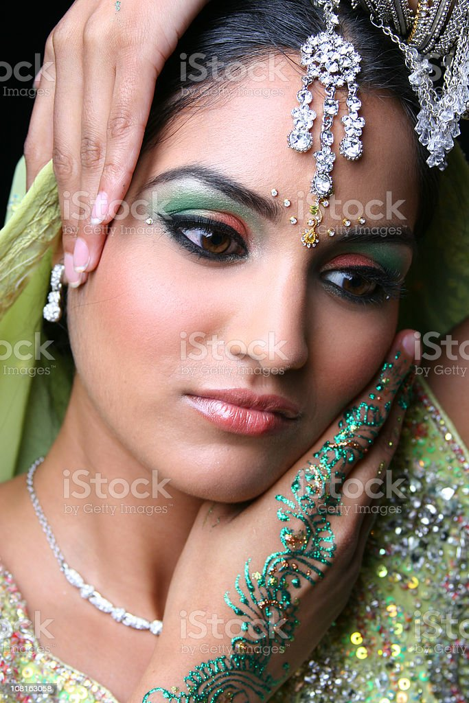 Young Woman in Traditional Indian Dress and Jewellery royalty-free stock photo
