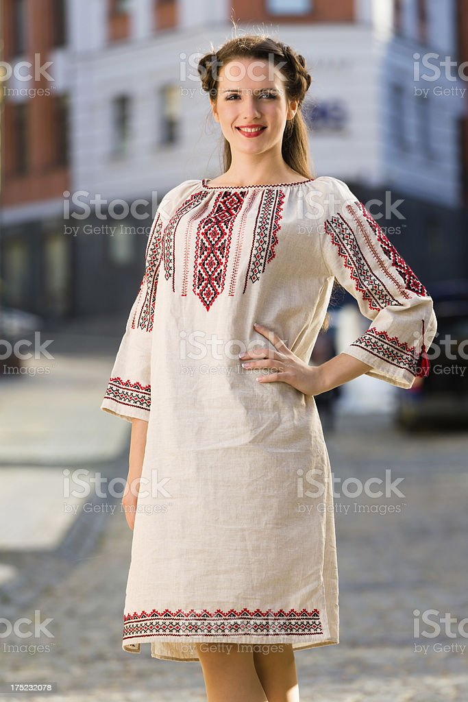 Young woman in Ukrainian national costume royalty-free stock photo
