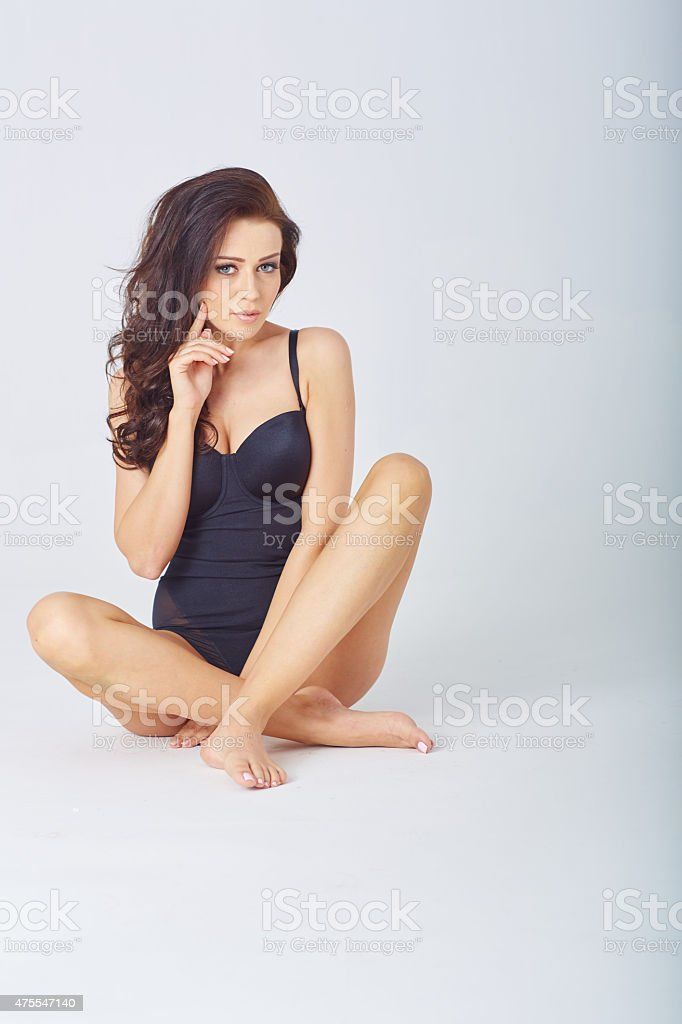 Young woman in underwear stock photo