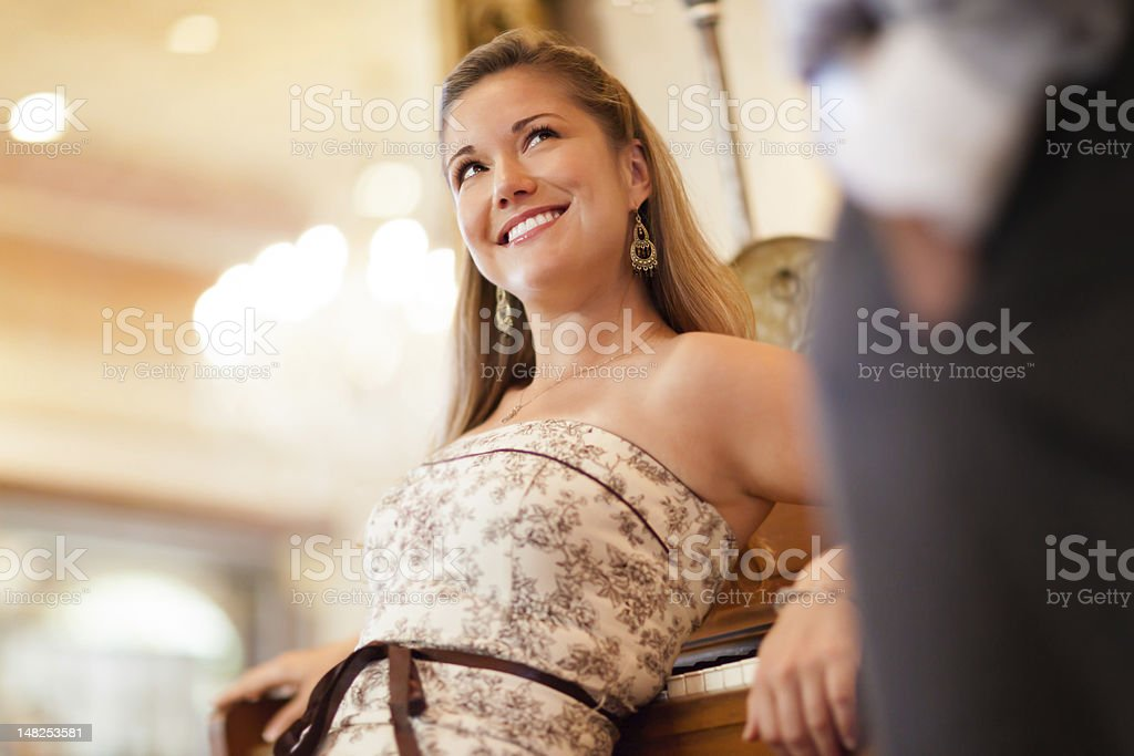 Young Woman in Victorian Dress stock photo