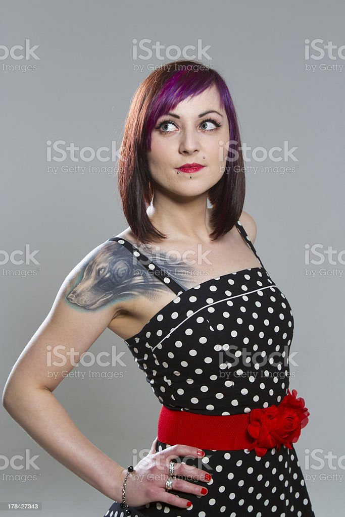 Young woman in vintage style royalty-free stock photo