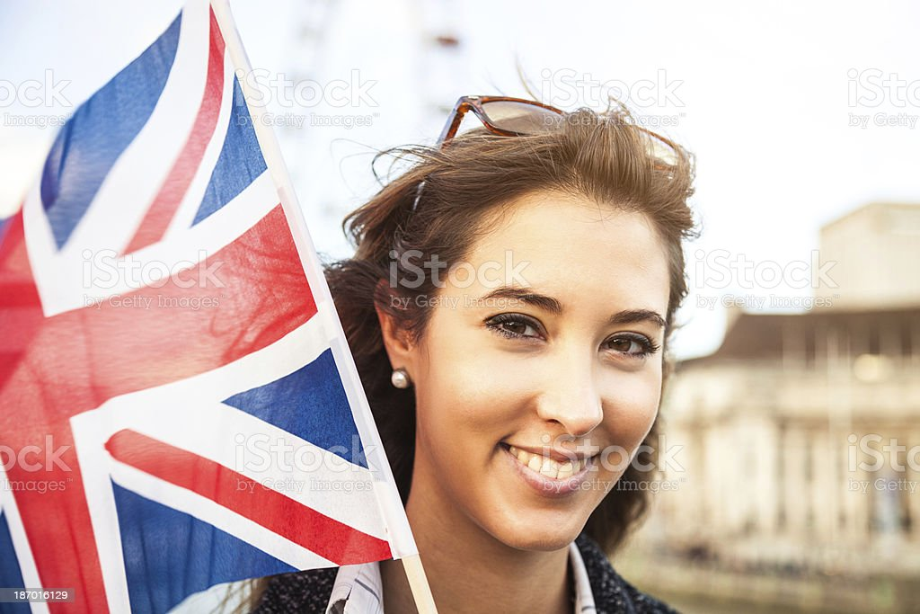 Young woman in visit to London royalty-free stock photo