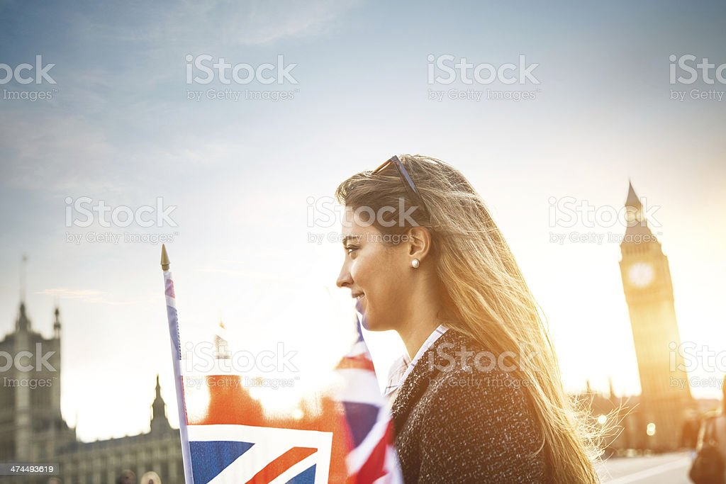 Young woman in visit to London stock photo