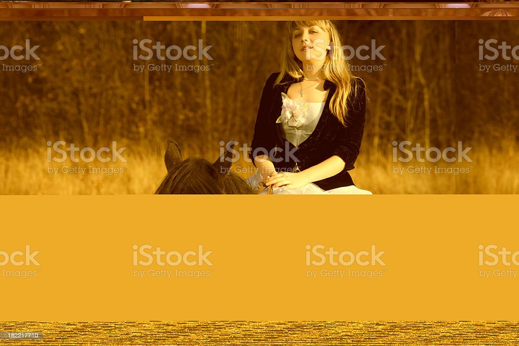 Young woman in white dress sitting on horse stock photo