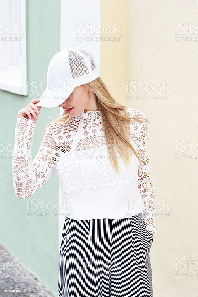Young woman in white stock photo