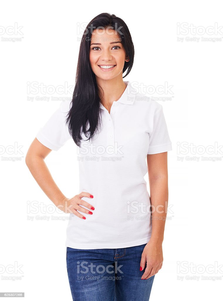 Young woman in white polo shirt stock photo