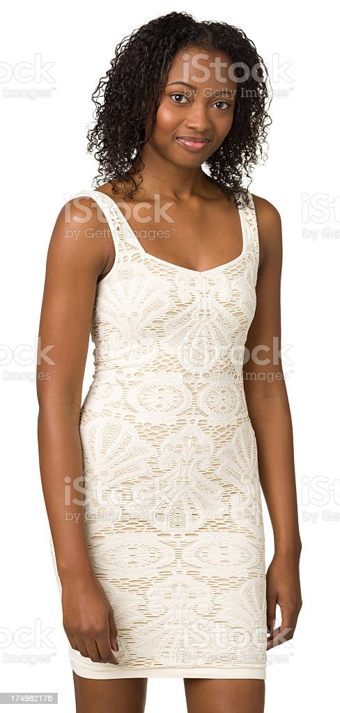 Young Woman In White Sleeveless Dress, Three Quarter Portrait royalty-free stock photo