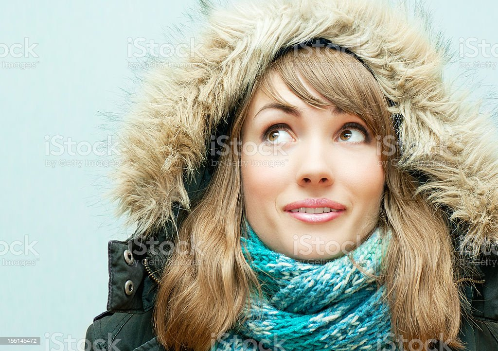 Young woman in winter clothes royalty-free stock photo
