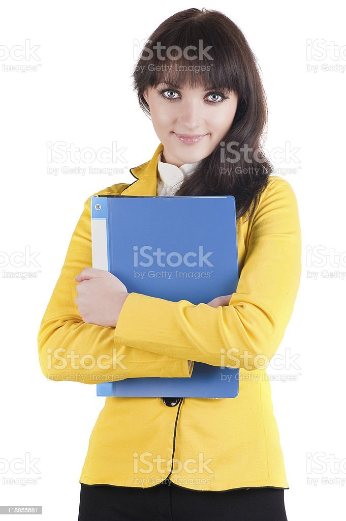 Young woman in yellow suit with the office folder stock photo