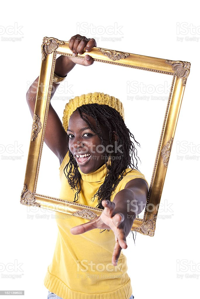 young woman inside a picture frame royalty-free stock photo