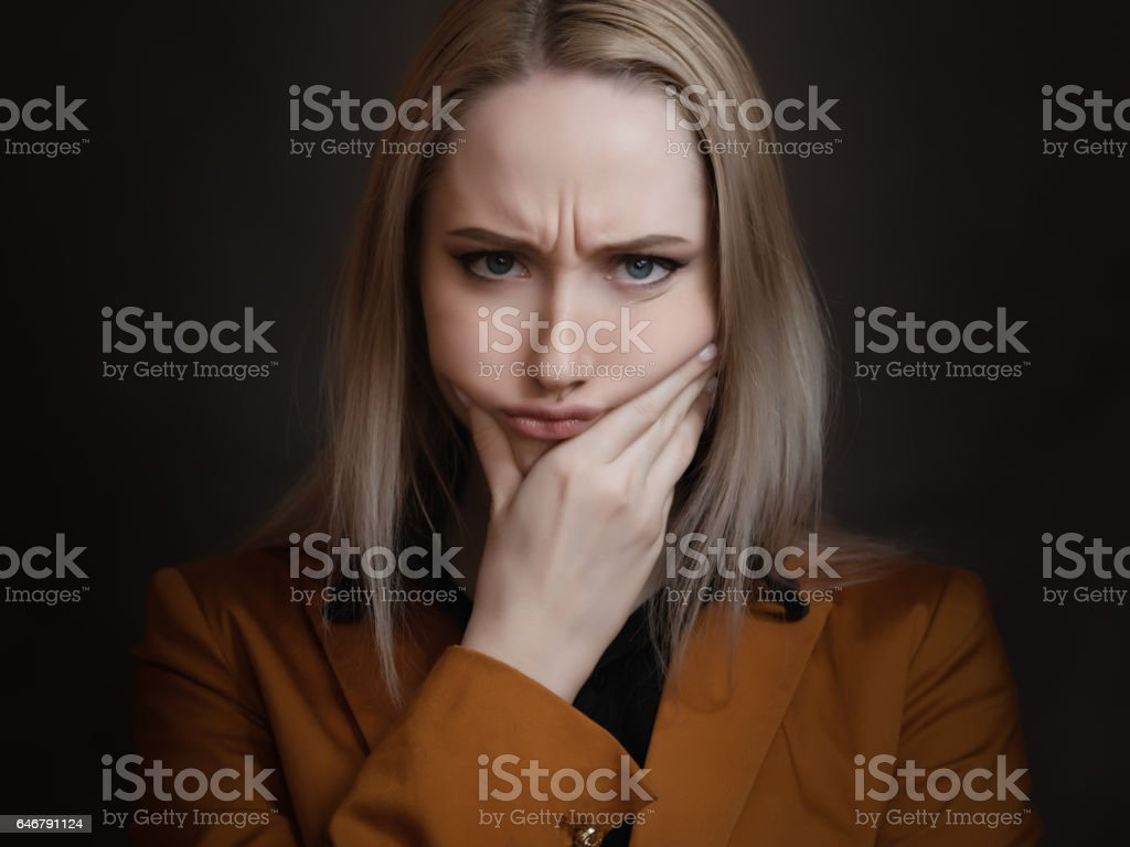 Young woman is bored. stock photo