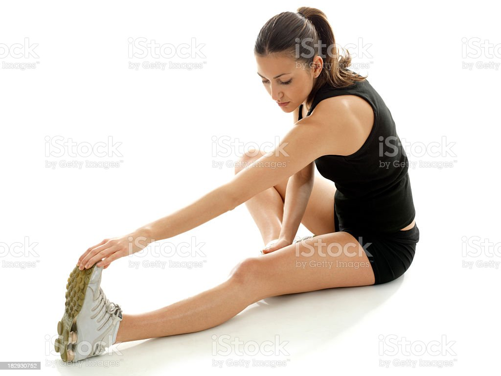 A young woman is doing some stretching royalty-free stock photo