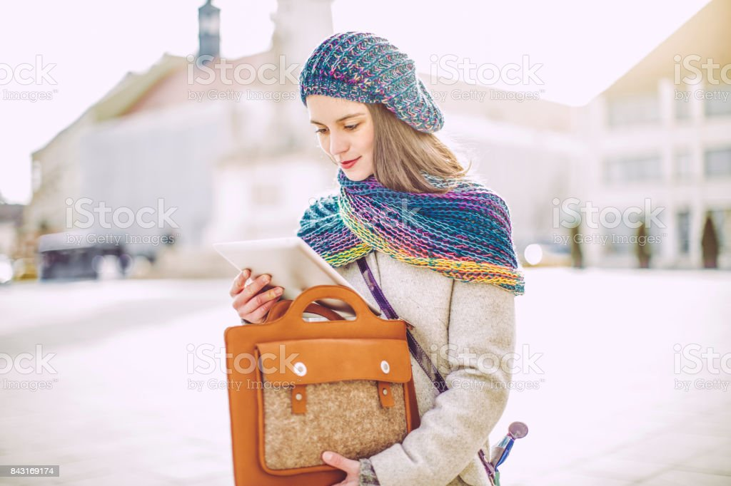 Young woman is having fun in the city stock photo