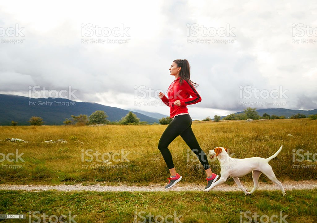 Young woman jogging with her dog stock photo