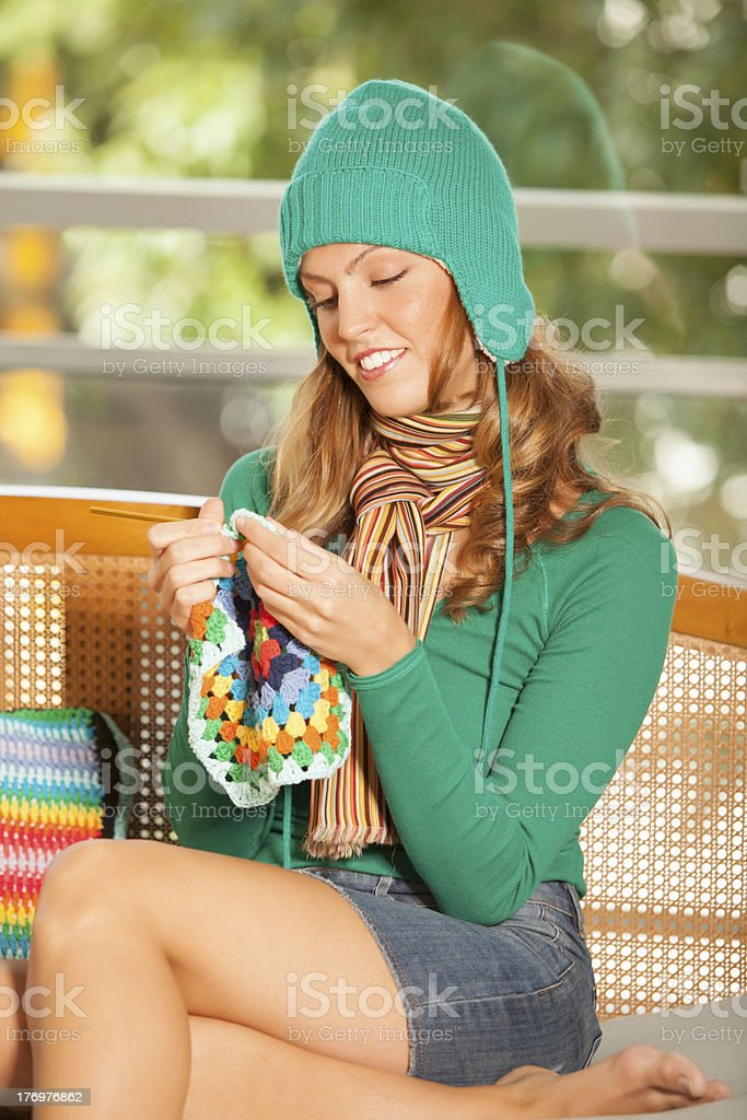 Young Woman Knitting royalty-free stock photo