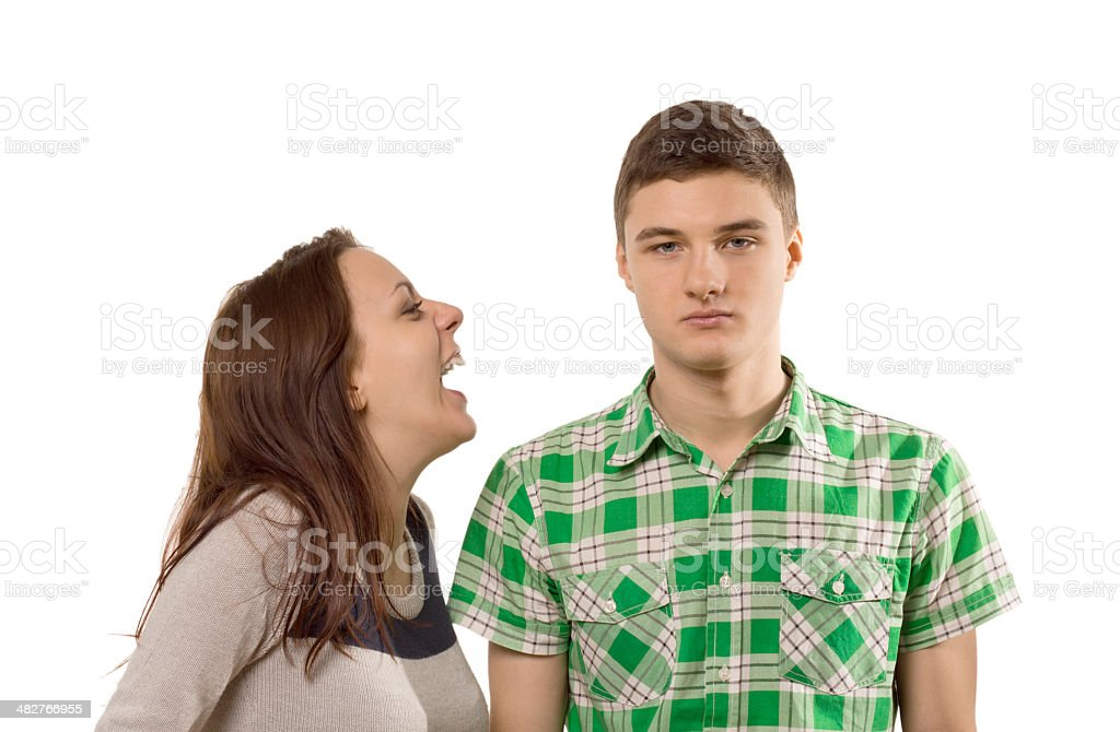 Young woman laughing at her own joke stock photo