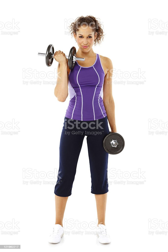 Young Woman Lifting Weights - Isolated stock photo