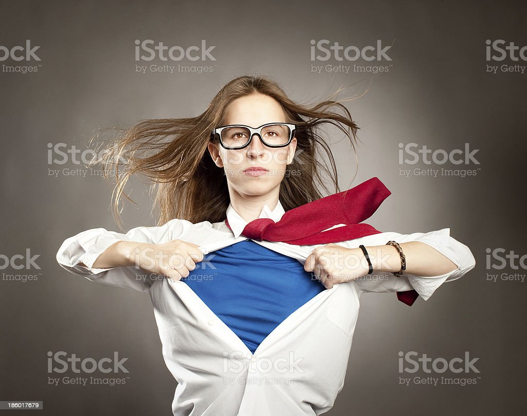 young woman like a superhero stock photo