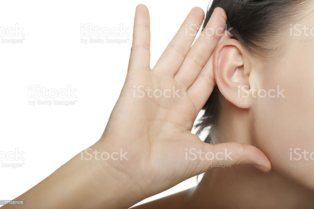 young woman listening stock photo