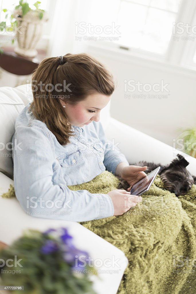Young Woman Looking at a Photo on a Tablet stock photo