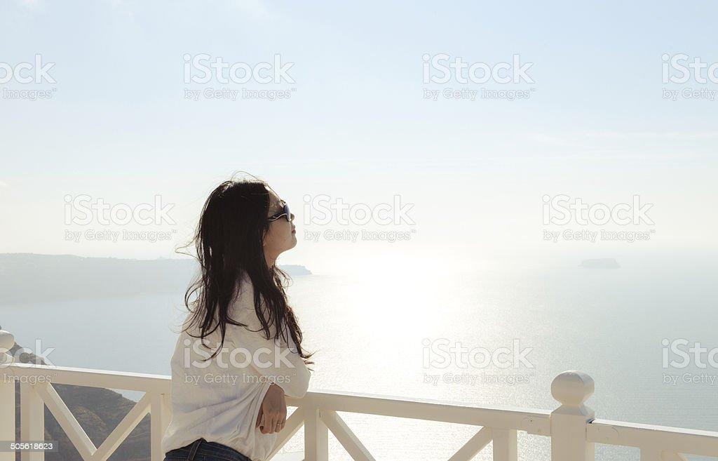 Young woman looking at horizon royalty-free stock photo