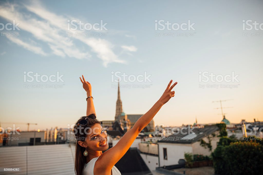 young woman looking at Stephansdom in Vienna stock photo