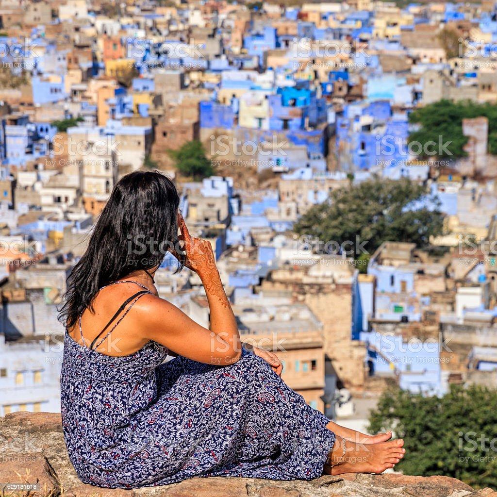 Young woman looking at the view, Jodhpur, India stock photo