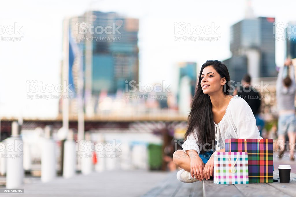 Young woman looking at view in Darling Harbour, Sydney stock photo