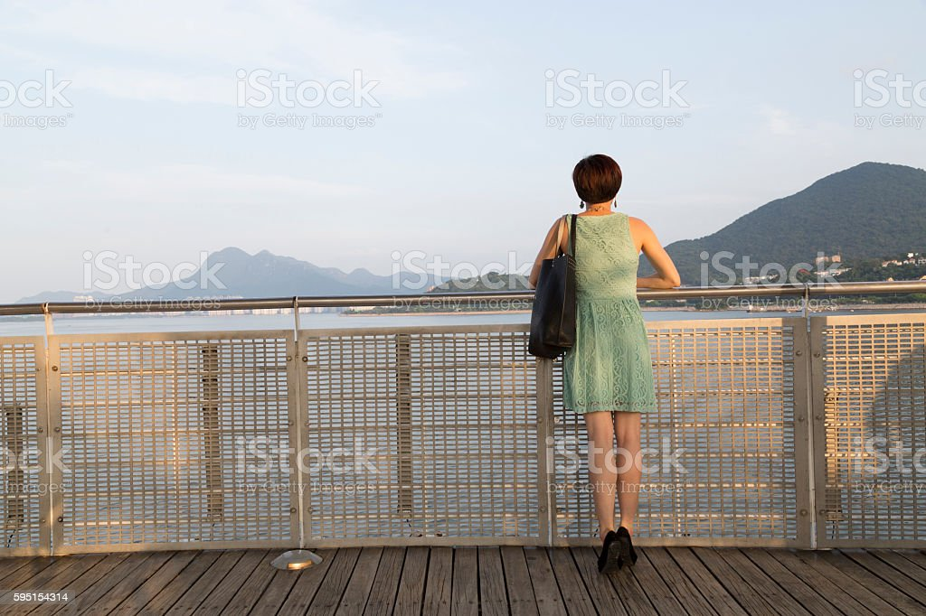 Young Woman Looking at View, Tai Po stock photo