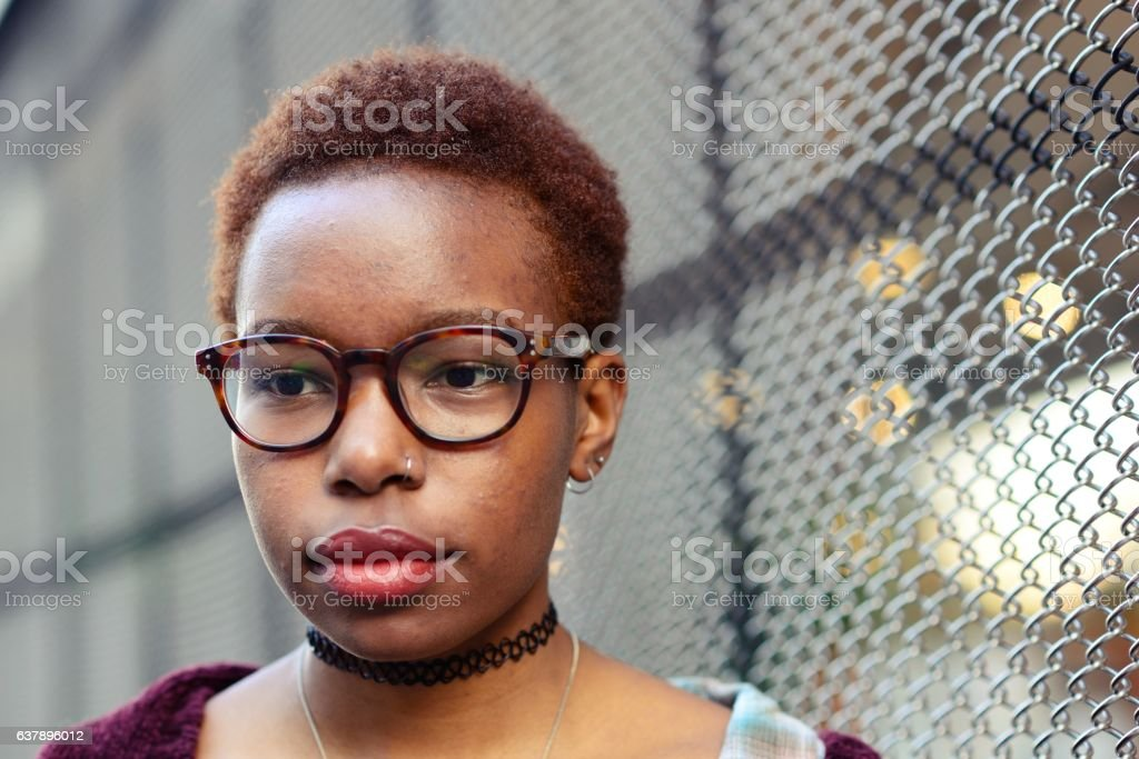 Young woman looking away stock photo
