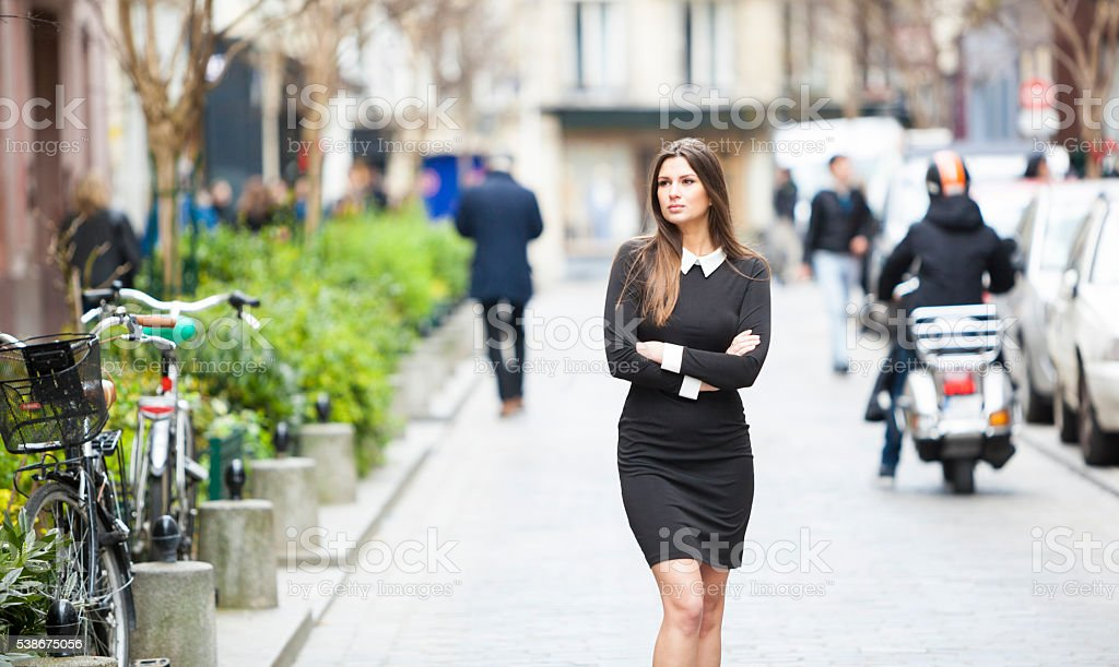 Young Woman Looking For Attractive Shops To Visit stock photo