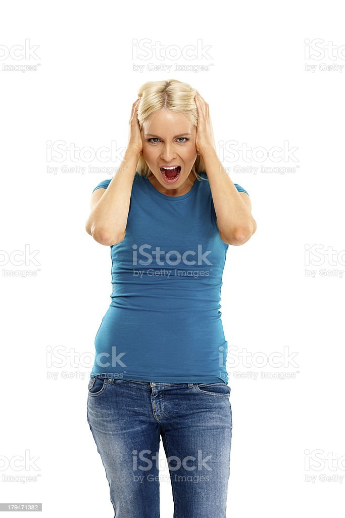 Young woman looking frustrated royalty-free stock photo
