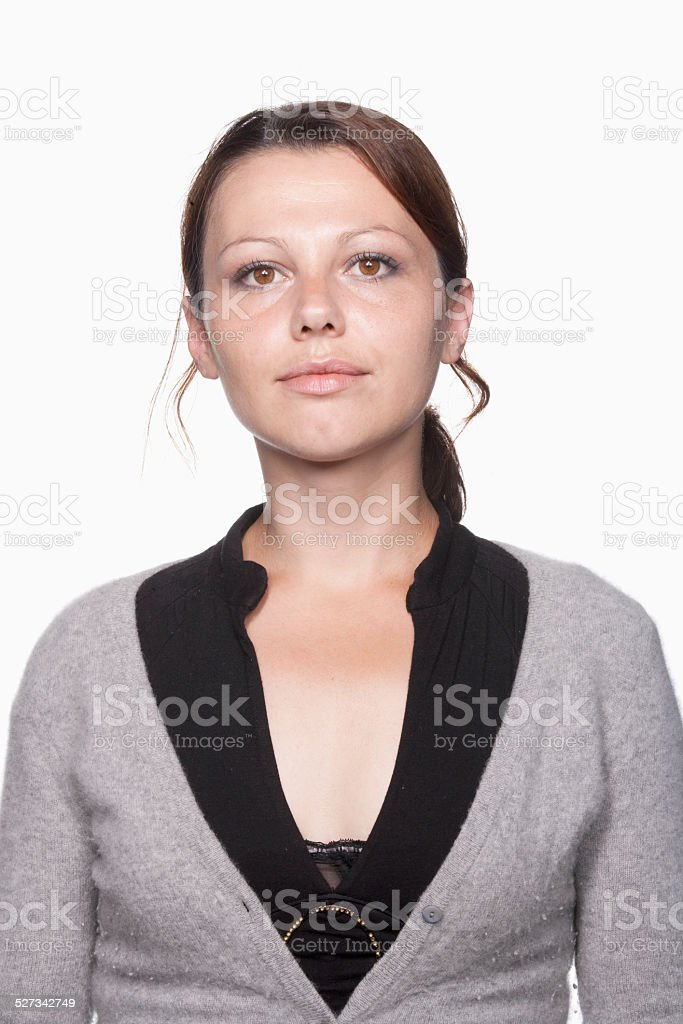 Young woman looking indifferent stock photo