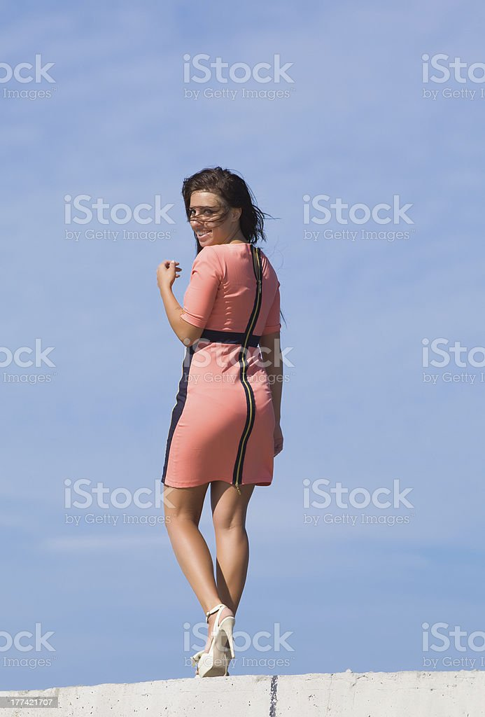 Young woman looking smiling royalty-free stock photo