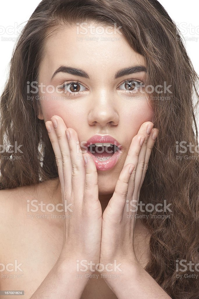 Young woman looking surprised royalty-free stock photo