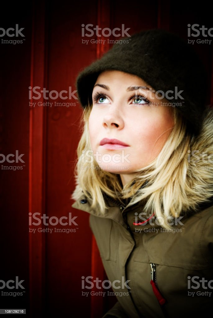 Young Woman Looking Upwards stock photo