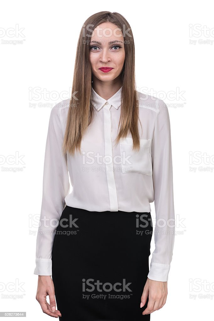 young woman looks skeptical stock photo