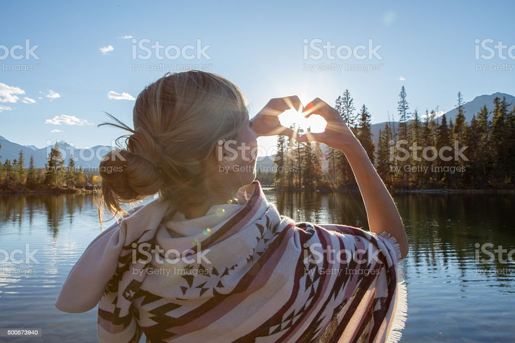 Young woman loving nature stock photo