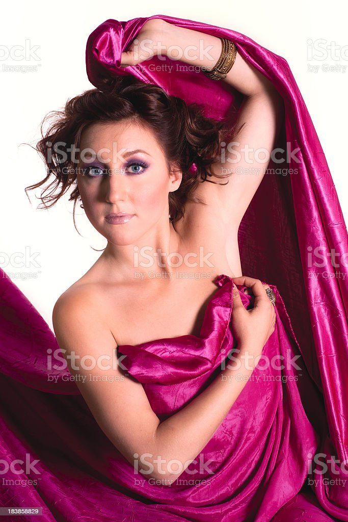 Young Woman, Magenta Drape, Red Hair, Blue Eyes stock photo
